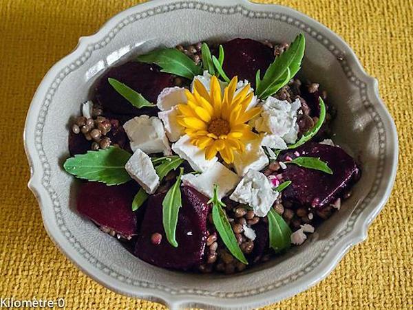 Salade de Lentilles, Betteraves Nouvelles et Fêta