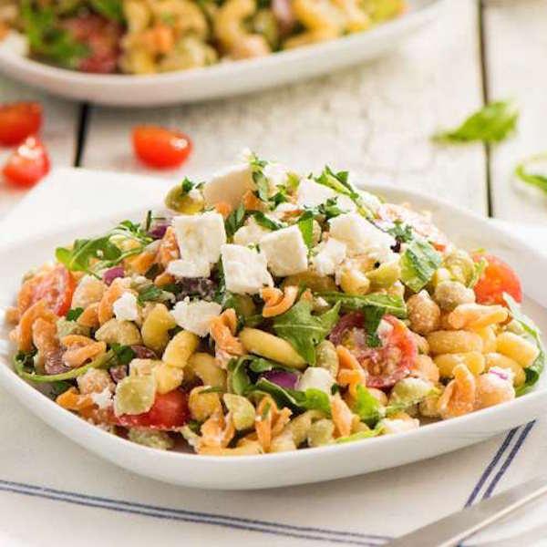 Salade de Pâtes Arcs-en-ciel Catelli Bistro® avec Vinaigrette de Tahini Citronnée