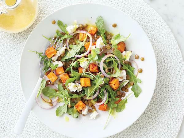 Salade de Patates Douces Grillées, de Lentilles et de Chèvre