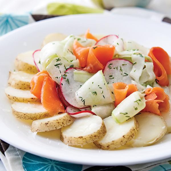 Salade de Pommes de Terre et de Truite Fumée Vinaigrette Citronnée au Yogourt