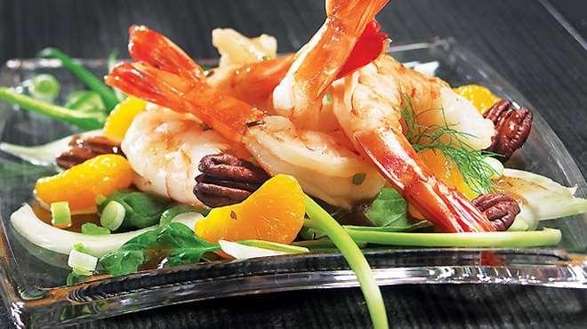 Salade Tiède aux Mandarines et aux Crevettes Piquantes