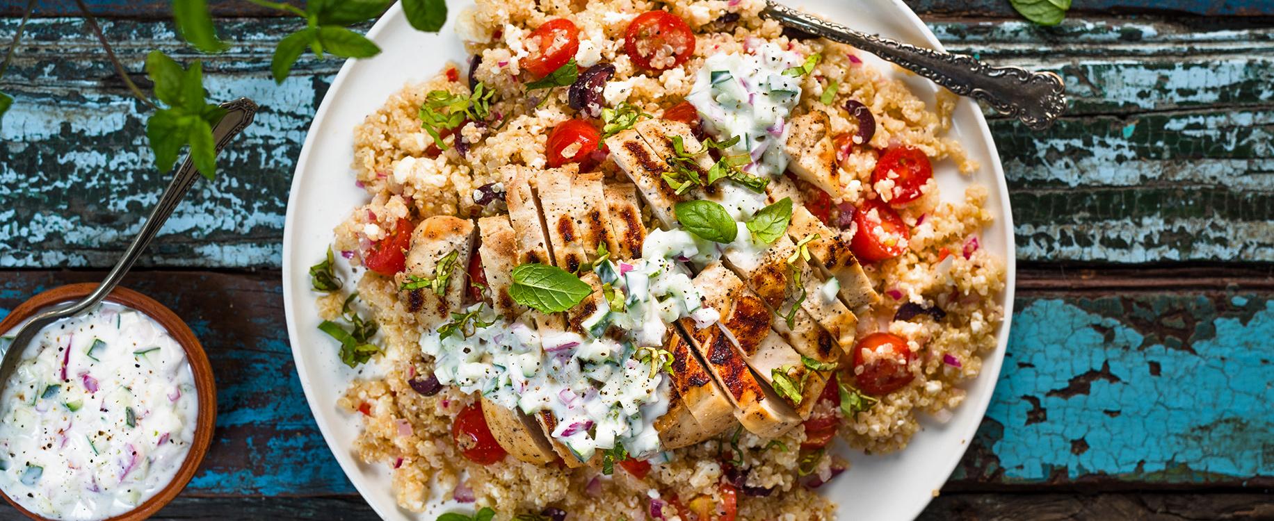 Photo Recette Salade Tiède de Quinoa au Poulet façon Shish Taouk