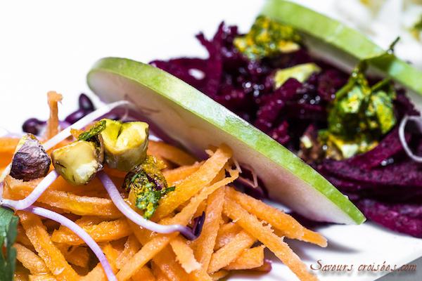 Salade Tricolore et Épicée {carotte, betterave, radis noir}