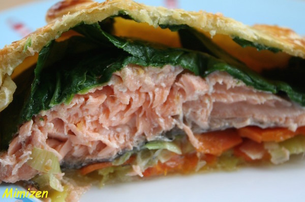Saumon en Croûte à la Julienne de Légumes de Mercotte