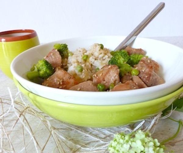 Sauté de Porc du Soleil Levant, Brocolis et Riz Thaï