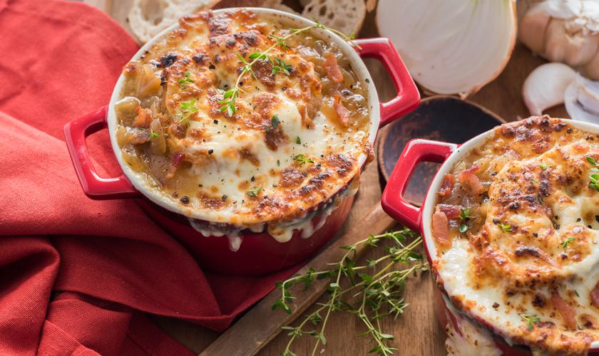 Photo Recette Soupe à L'oignon et au Bacon avec Croûtons au Fromage Mozzarellissima