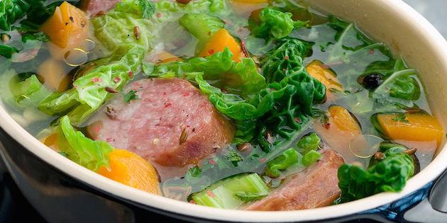 Soupe au Chou et à la Saucisse de Morteau