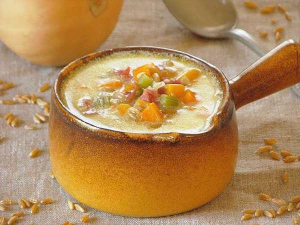 Soupe Crémeuse à la Courge Butternut et au Ble Khorasan