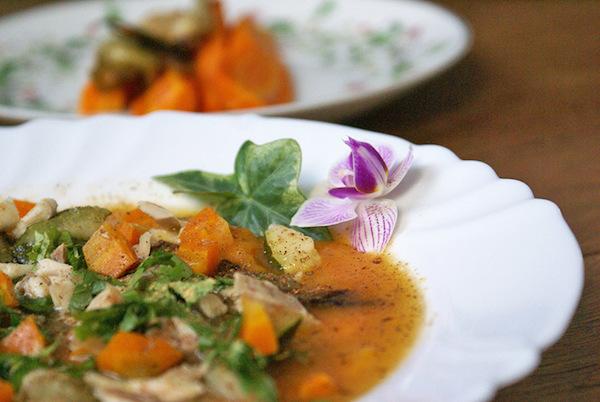 Soupe D'automne au Poulet, Butternut & Noix de Muscade {sans gluten, sans lait}