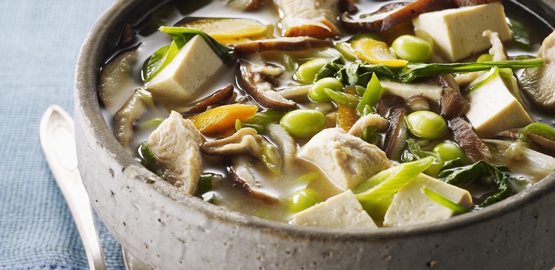 Soupe Miso au Poulet et au Tofu