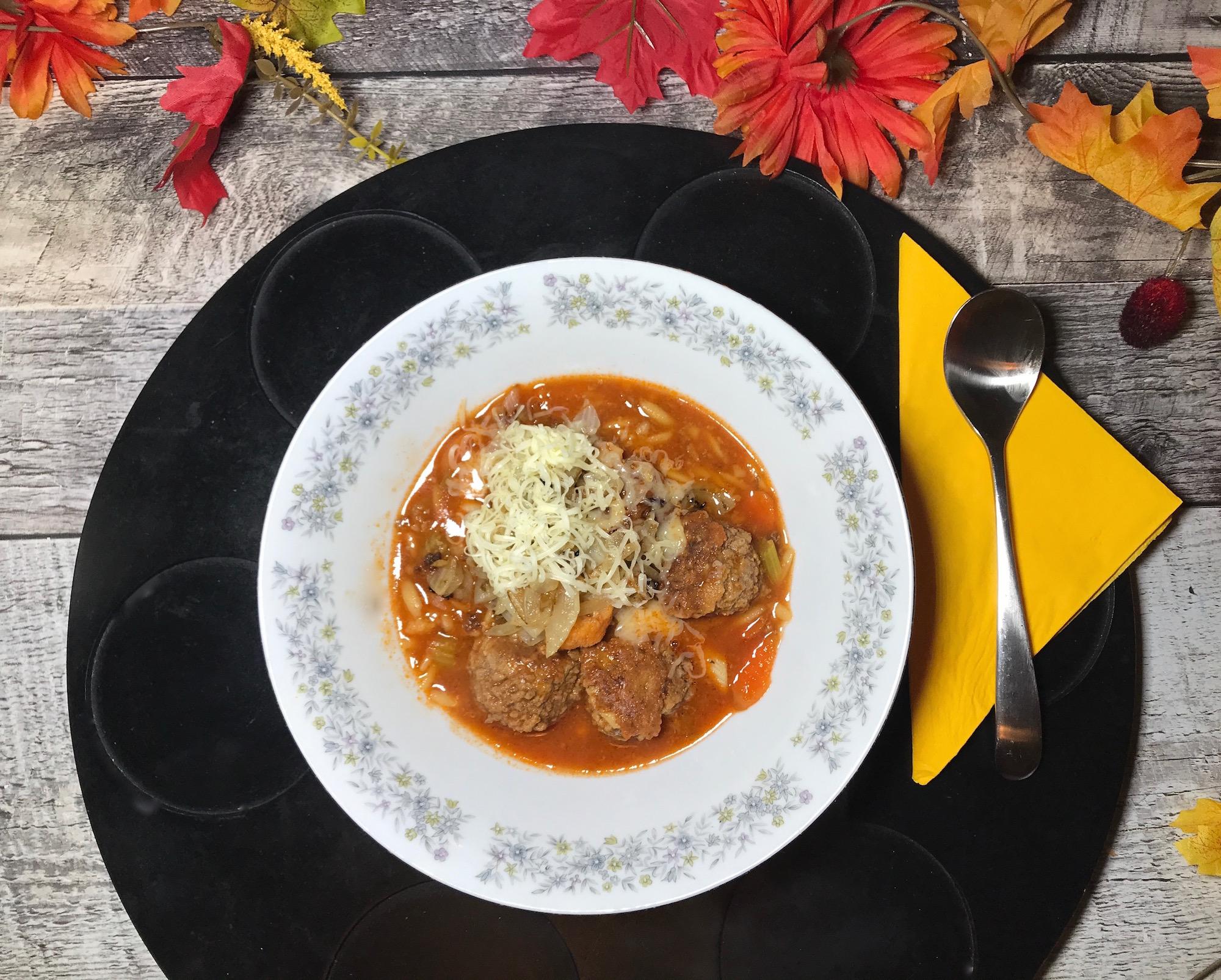 Soupe Repas Boulettes de Boeuf et Oignons Caramélisées