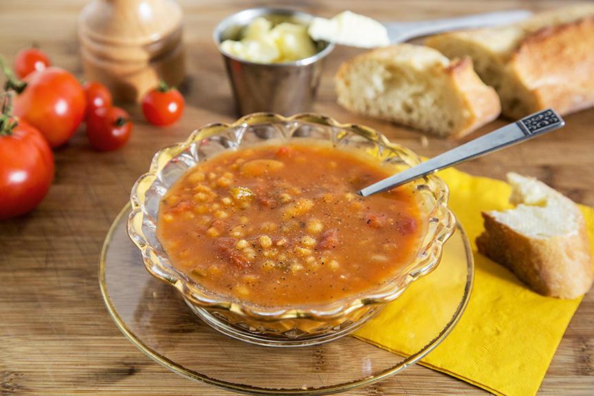 Photo Recette Soupe-Repas Tomates Orge et Haricots Blancs