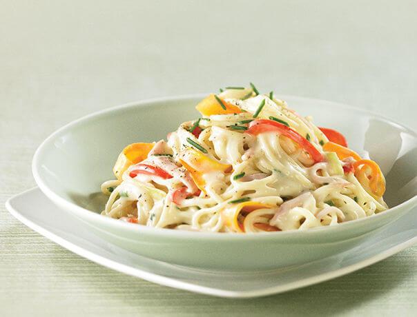 Photo Recette Spaghetti aux Légumes et au Jambon, Sauce Moutarde