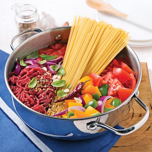 Spaghettis au Boeuf Haché, Sauce Tomate
