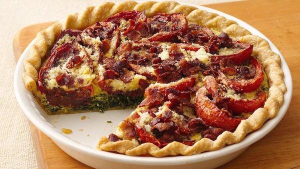 Tarte au Bacon aux Épinards et aux Tomates Rôties au Vinaigre Balsamique