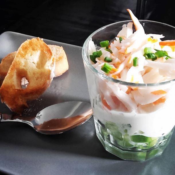 Photo Recette Verrine Légère au Concombre Crabe et Fromage Frais