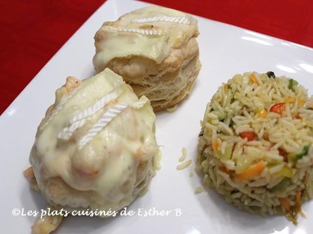 Photo Recette Vol-au-vent au Saumon, aux Crevettes et au Brie