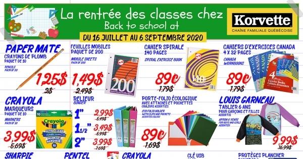Circulaire Korvette Jusqu'au 6 Septembre 2020