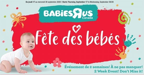 Circulaire Babies ''R'' Us du 17 au 30 Septembre 2020