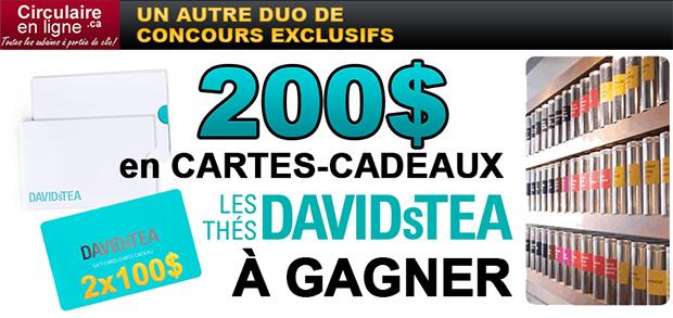 Concours 200$ en cartes-cadeaux David's Tea à gagner