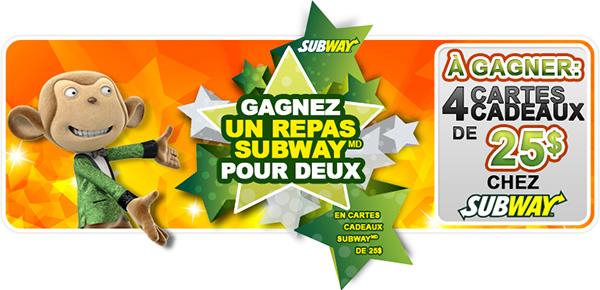 Concours Facebook Gagnez une carte cadeau Subway