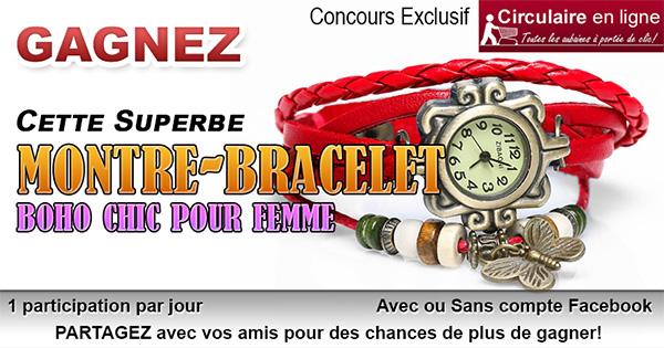 Concours Gagnez une montre-bracelet boho-chic rouge pour femme