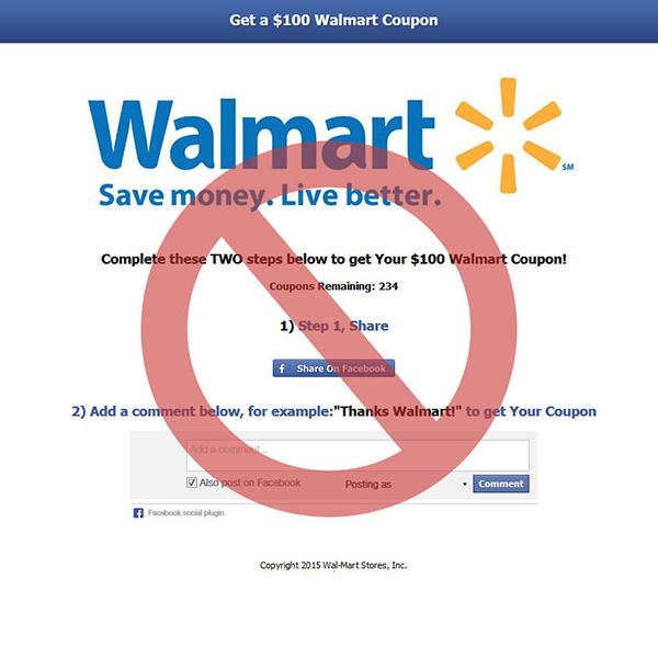 Faux concours coupons rabais Walmart de 100$