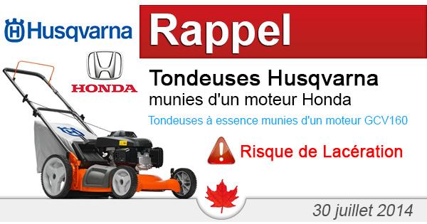 Husqvarna rappelle les tondeuses 21 pouces 7021p Husqvarna munies d'un moteur Honda