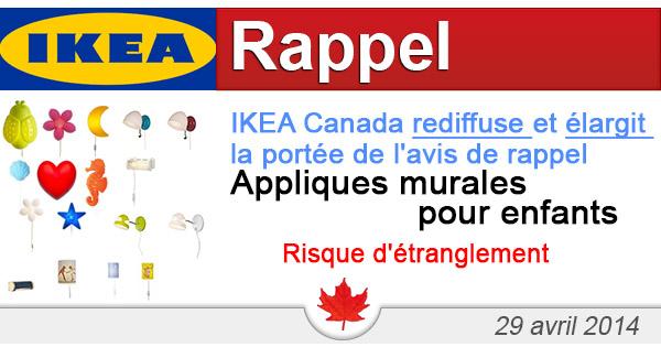 IKEA Canada rediffuse et élargit la portée de l'avis de rappel visant les appliques murales pour enfants