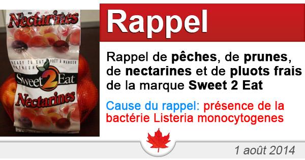 Rappel de pêches, de prunes, de nectarines et de pluots frais entiers de la marque Sweet 2 Eat