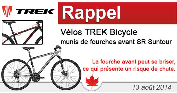 Trek Bicycle rappelle des vélos munis de fourches avant SR Suntour