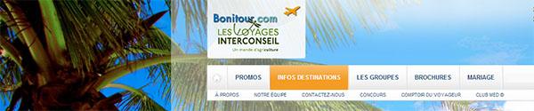 Voyages Bonitour en ligne