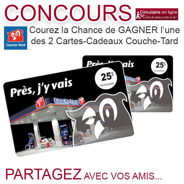Concours Carte Cadeau Couche Tard de 25$