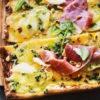 Circulaire Pizza Pomme de Terre et Butternut, Parme et Pesto Cresson-Basilic