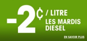 Les Mardis, le prix du diesel est réduit de 2c le litre.